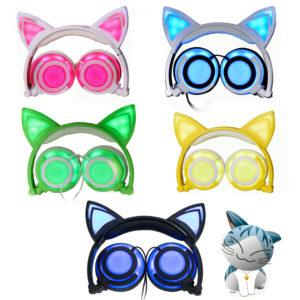 Cute Cat Ear Headphones Creatives Luminous Foldable Flashing